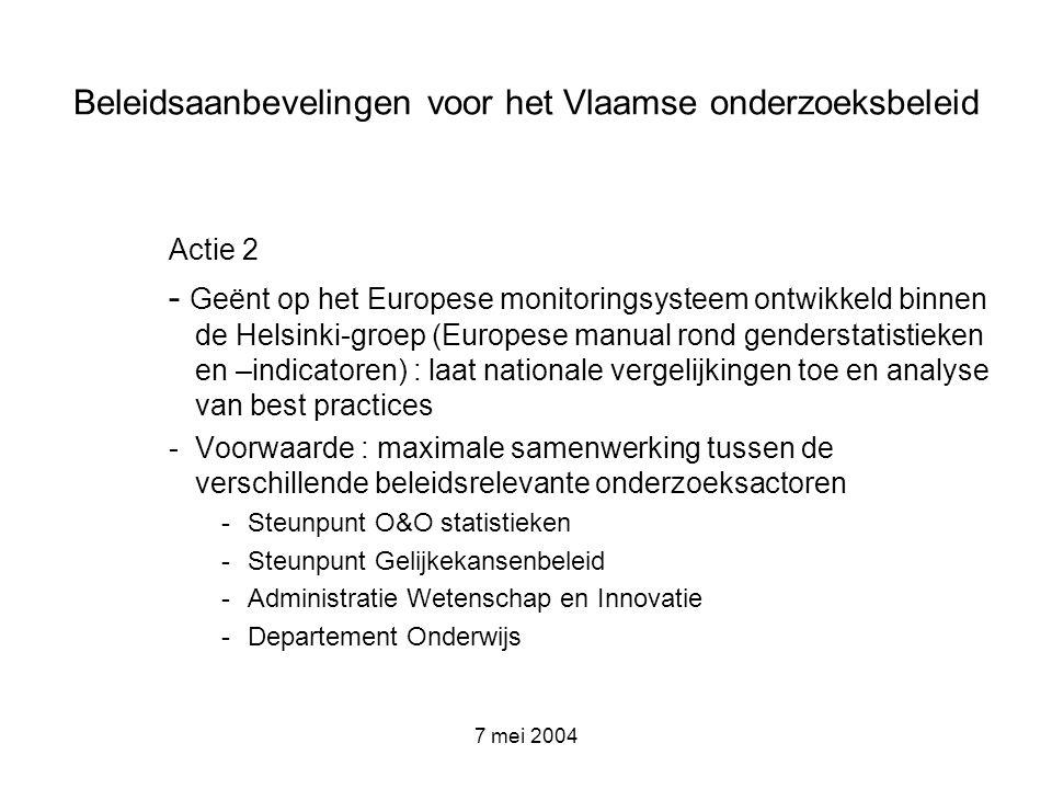 7 mei 2004 Beleidsaanbevelingen voor het Vlaamse onderzoeksbeleid Actie 2 - Geënt op het Europese monitoringsysteem ontwikkeld binnen de Helsinki-groe