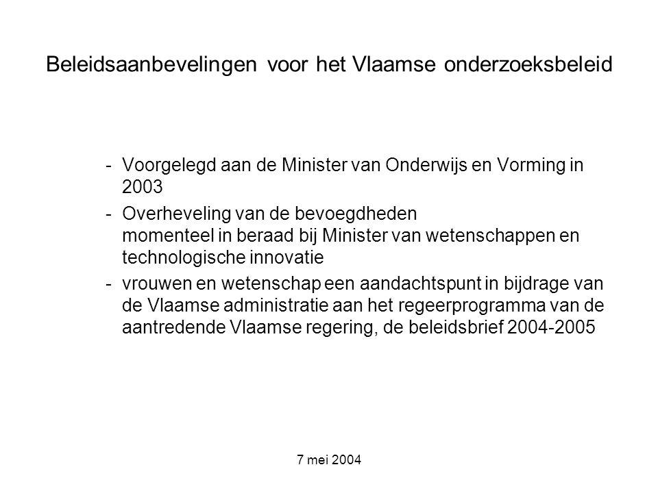 7 mei 2004 Beleidsaanbevelingen voor het Vlaamse onderzoeksbeleid -Voorgelegd aan de Minister van Onderwijs en Vorming in 2003 -Overheveling van de be