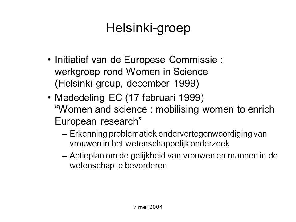 7 mei 2004 Beleidsaanbevelingen voor het Vlaamse onderzoeksbeleid Actie 3 : integratie van het genderaspect in alle beheersovereenkomsten tussen de Vlaamse overheid en alle Vlaamse openbare instellingen –Analoog FWO-beheersovereenkomst (2002-2007) Actie 4 : Actieplan Wetenschapsinformatie permanente aandacht voor de genderdimensie, op een evenwichtige wijze - voorbeeld : tentoonstelling sEXPERIMENT (Technopolis, September 26, 2002 - August 31, 2003)