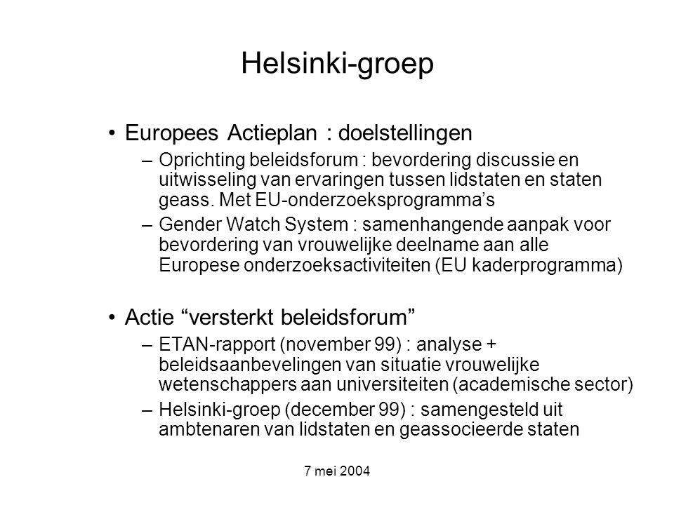 7 mei 2004 Beleidsaanbevelingen voor het Vlaamse onderzoeksbeleid -Voorgelegd aan de Minister van Onderwijs en Vorming in 2003 -Overheveling van de bevoegdheden momenteel in beraad bij Minister van wetenschappen en technologische innovatie -vrouwen en wetenschap een aandachtspunt in bijdrage van de Vlaamse administratie aan het regeerprogramma van de aantredende Vlaamse regering, de beleidsbrief 2004-2005