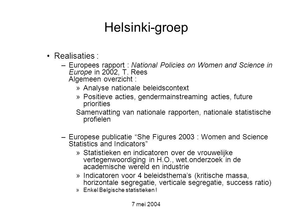 7 mei 2004 Helsinki-groep Overige studies, publicaties van W&S unit : –Women in Industrial Research : A wake up call for European Industry – rapport ENWISE Expert group : analyse van de situatie van vrouwelijke wetenschappers in de Centraal- en Oosteuropese landen en Baltische staten + beleidsaanbevelingen Website –http://europa.eu.int/comm/research/science- society/women-science/women-science_en.html