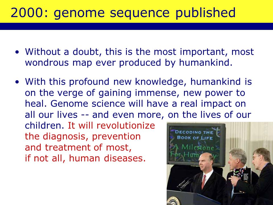 2000: genome sequence published Without a doubt, this is the most important, most wondrous map ever produced by humankind. With this profound new know