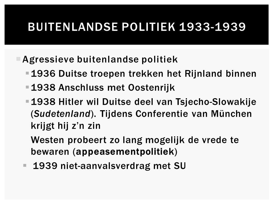  Agressieve buitenlandse politiek  1936 Duitse troepen trekken het Rijnland binnen  1938 Anschluss met Oostenrijk  1938 Hitler wil Duitse deel van Tsjecho-Slowakije (Sudetenland).