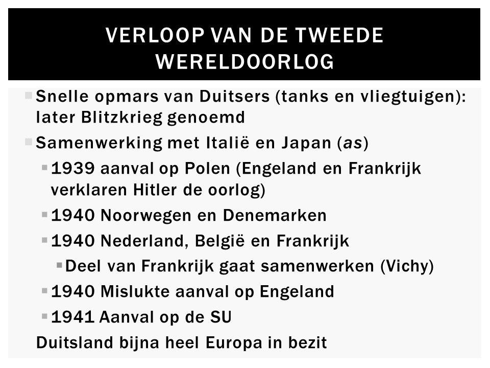 VERLOOP VAN DE TWEEDE WERELDOORLOG  Snelle opmars van Duitsers (tanks en vliegtuigen): later Blitzkrieg genoemd  Samenwerking met Italië en Japan (a