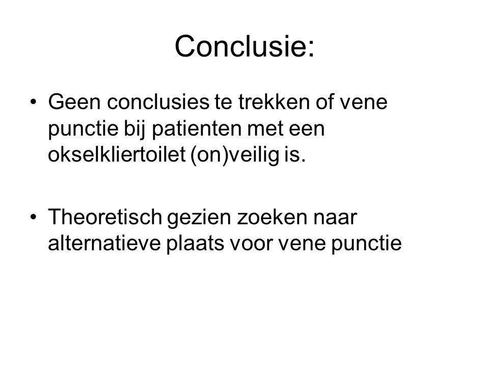 Conclusie: Geen conclusies te trekken of vene punctie bij patienten met een okselkliertoilet (on)veilig is.