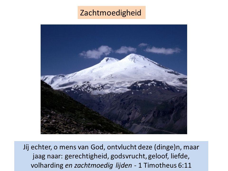 Zachtmoedigheid Jíj echter, o mens van God, ontvlucht deze (dinge)n, maar jaag naar: gerechtigheid, godsvrucht, geloof, liefde, volharding en zachtmoe