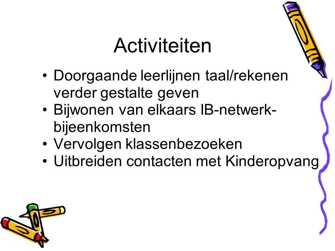 Doorgaande leerlijnen taal/rekenen verder gestalte geven Bijwonen van elkaars IB-netwerk- bijeenkomsten Vervolgen klassenbezoeken Uitbreiden contacten met Kinderopvang Activiteiten