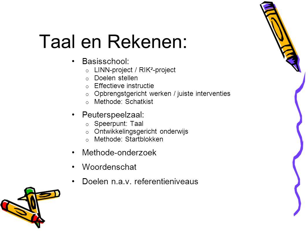 Taal en Rekenen: Basisschool: o LINN-project / RIK²-project o Doelen stellen o Effectieve instructie o Opbrengstgericht werken / juiste interventies o