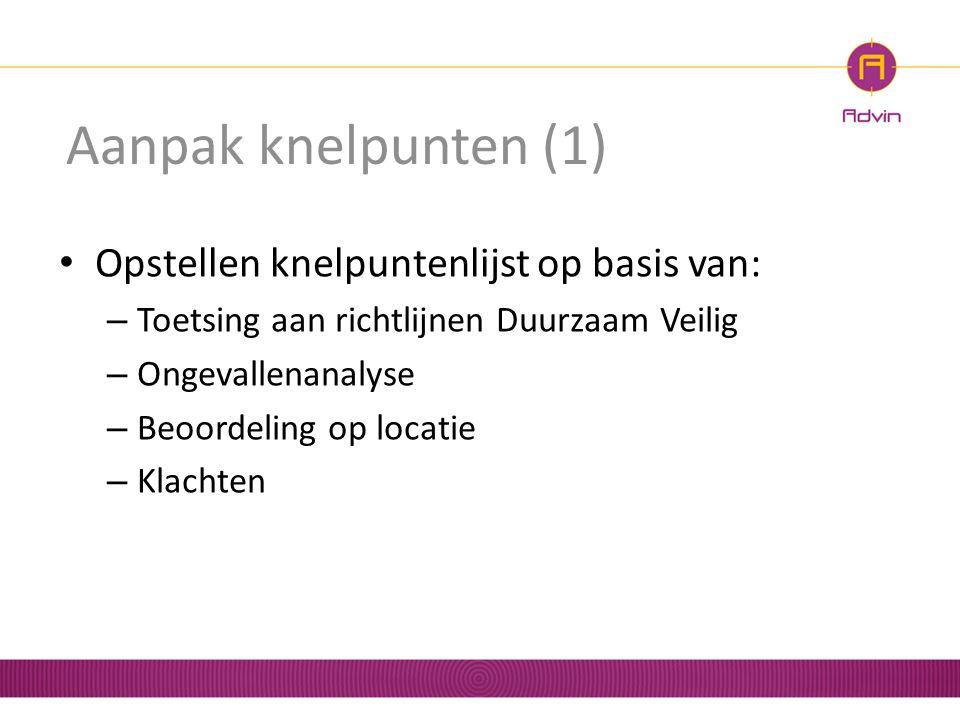 Aanpak knelpunten (1) Opstellen knelpuntenlijst op basis van: – Toetsing aan richtlijnen Duurzaam Veilig – Ongevallenanalyse – Beoordeling op locatie
