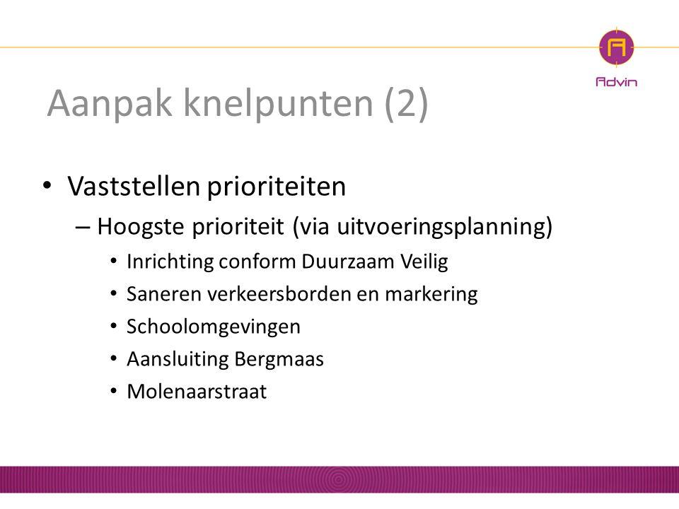Aanpak knelpunten (2) Vaststellen prioriteiten – Hoogste prioriteit (via uitvoeringsplanning) Inrichting conform Duurzaam Veilig Saneren verkeersborde