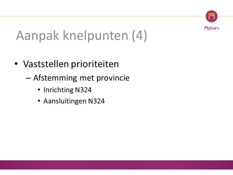 Aanpak knelpunten (4) Vaststellen prioriteiten – Afstemming met provincie Inrichting N324 Aansluitingen N324