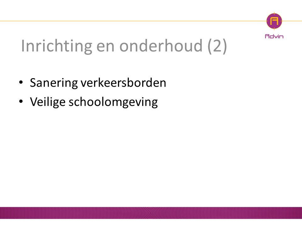Inrichting en onderhoud (2) Sanering verkeersborden Veilige schoolomgeving