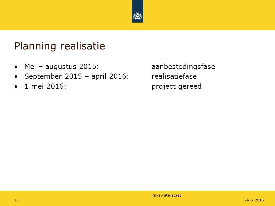 Rijkswaterstaat Planning realisatie Mei – augustus 2015:aanbestedingsfase September 2015 – april 2016:realisatiefase 1 mei 2016:project gereed 1024-6-