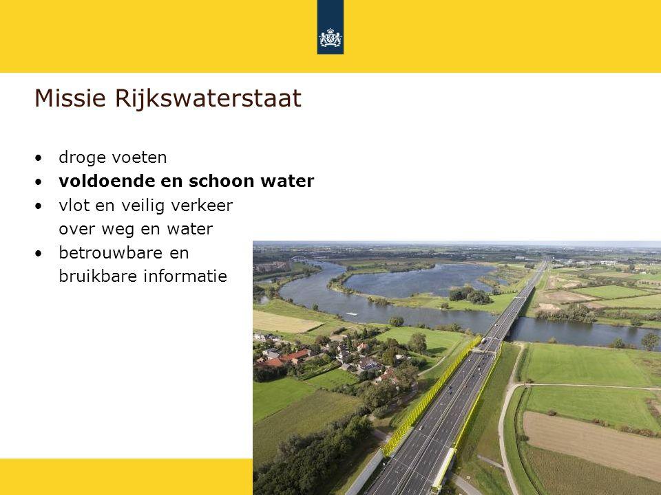 Rijkswaterstaat Doel Europese Kaderrichtlijn Water (KRW) Schoon water dat goed is voor mensen, dieren en planten in 2027 Uitwerking in 3 hoofdthema's: –Ruim baan voor vis –Schoon water –Herstel leefgebied