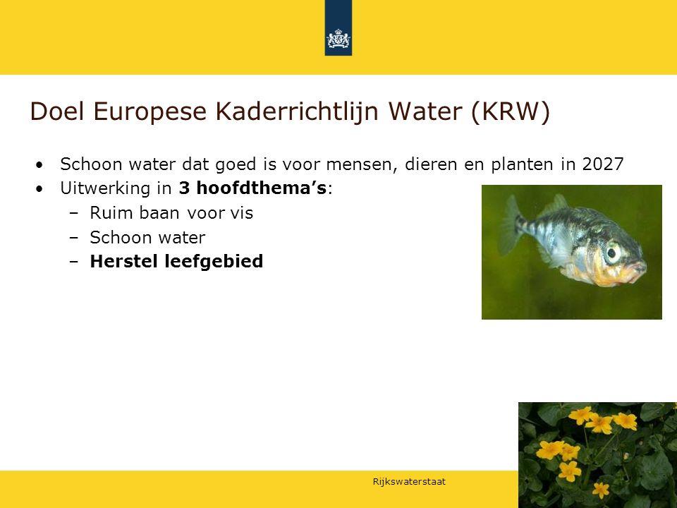 Rijkswaterstaat Doel Europese Kaderrichtlijn Water (KRW) Schoon water dat goed is voor mensen, dieren en planten in 2027 Uitwerking in 3 hoofdthema's:
