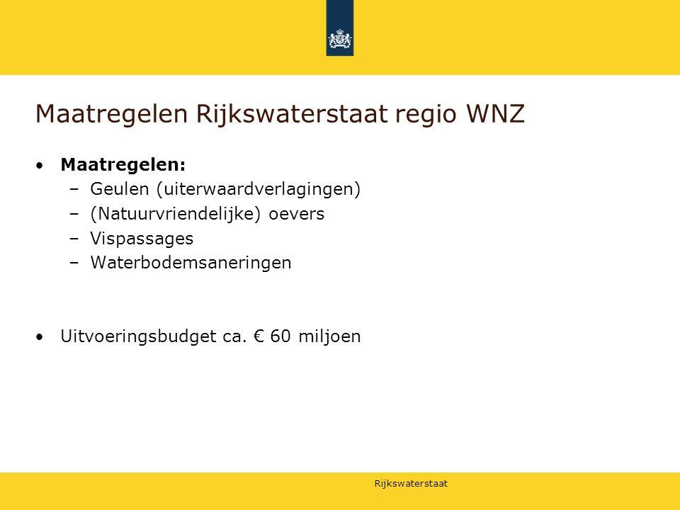 Rijkswaterstaat Maatregelen Rijkswaterstaat regio WNZ Maatregelen: –Geulen (uiterwaardverlagingen) –(Natuurvriendelijke) oevers –Vispassages –Waterbod