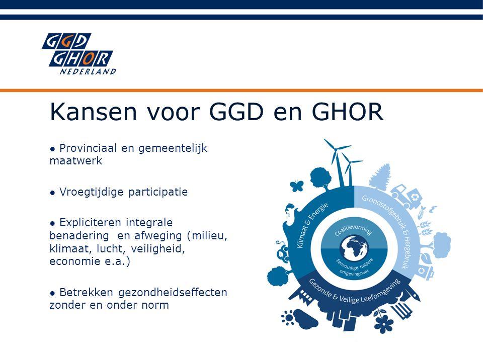 Kansen voor GGD en GHOR ● Provinciaal en gemeentelijk maatwerk ● Vroegtijdige participatie ● Expliciteren integrale benadering en afweging (milieu, kl