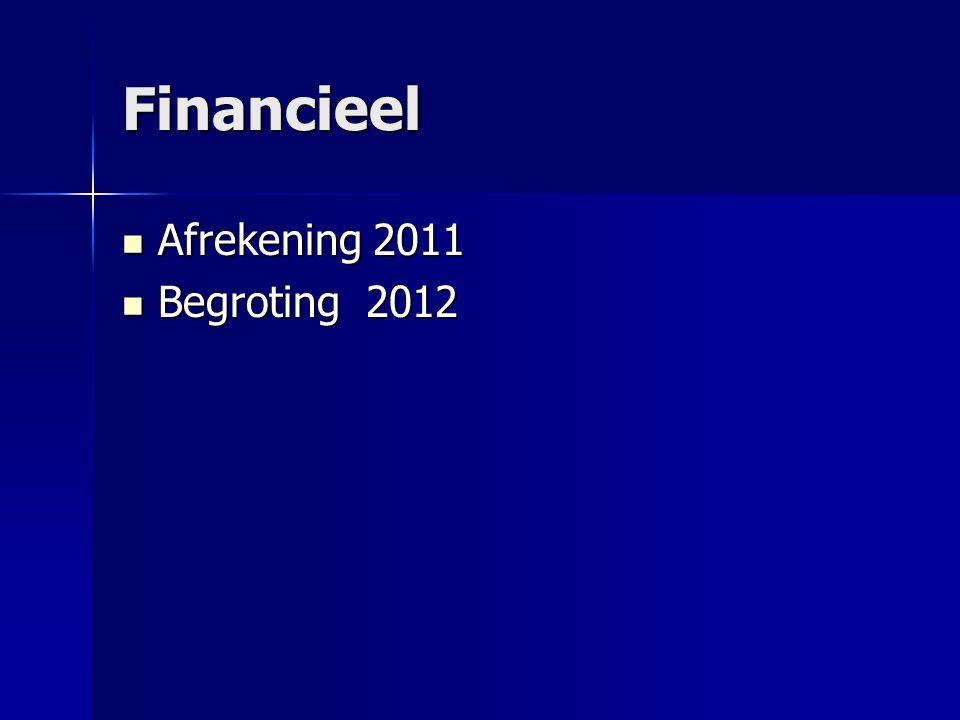 Financieel Afrekening 2011 Afrekening 2011 Begroting 2012 Begroting 2012