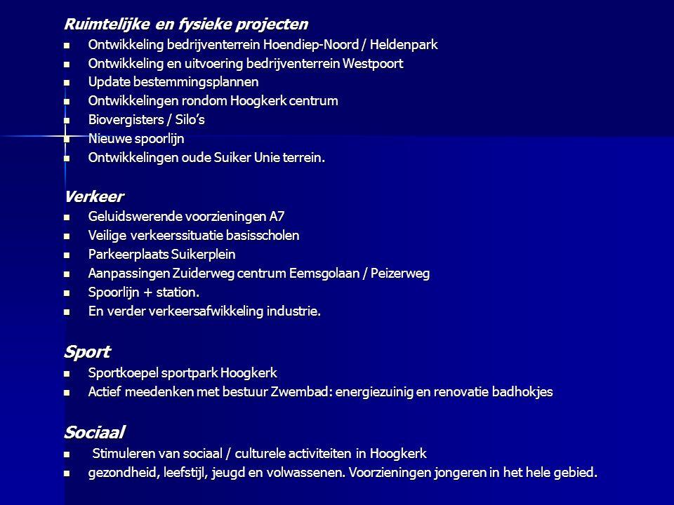 Ruimtelijke en fysieke projecten Ontwikkeling bedrijventerrein Hoendiep-Noord / Heldenpark Ontwikkeling bedrijventerrein Hoendiep-Noord / Heldenpark O