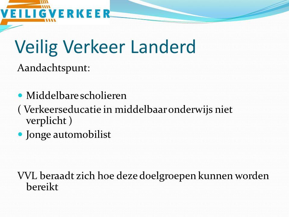 Veilig Verkeer Landerd Aandachtspunt: Middelbare scholieren ( Verkeerseducatie in middelbaar onderwijs niet verplicht ) Jonge automobilist VVL beraadt zich hoe deze doelgroepen kunnen worden bereikt
