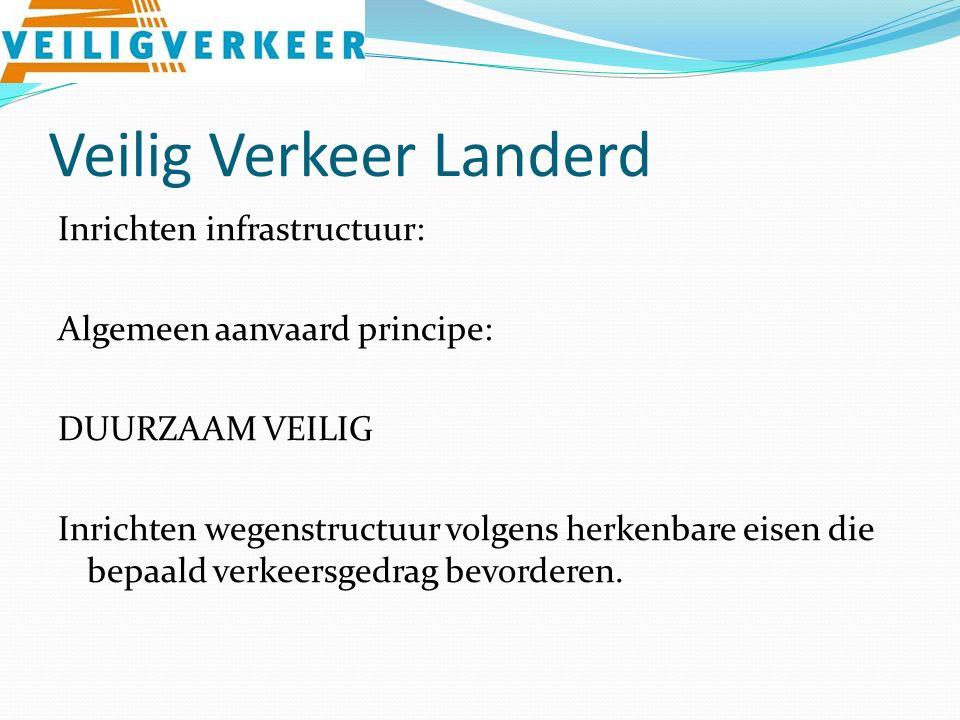Veilig Verkeer Landerd Inrichten infrastructuur: Algemeen aanvaard principe: DUURZAAM VEILIG Inrichten wegenstructuur volgens herkenbare eisen die bepaald verkeersgedrag bevorderen.