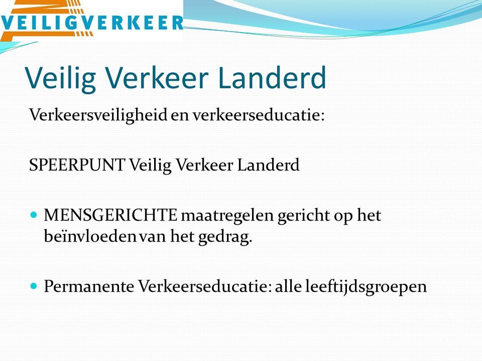 Veilig Verkeer Landerd Verkeersveiligheid en verkeerseducatie: SPEERPUNT Veilig Verkeer Landerd MENSGERICHTE maatregelen gericht op het beïnvloeden van het gedrag.