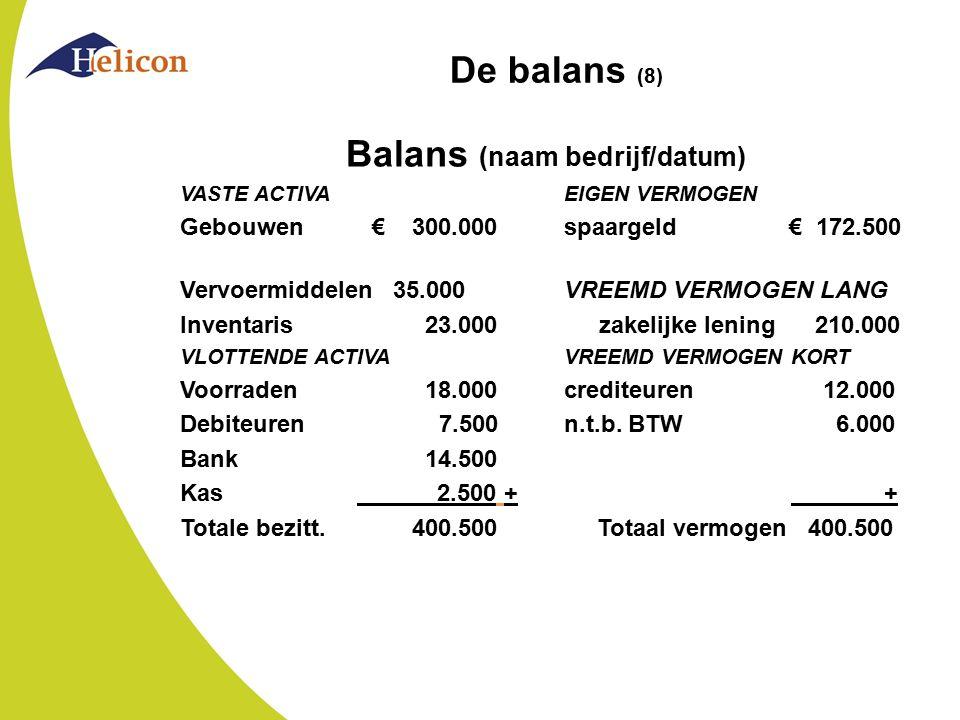 De balans (8) Balans (naam bedrijf/datum) VASTE ACTIVAEIGEN VERMOGEN Gebouwen€ 300.000spaargeld € 172.500 Vervoermiddelen 35.000 VREEMD VERMOGEN LANG
