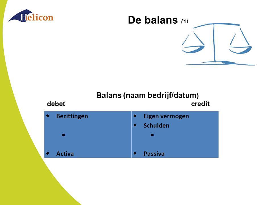 De balans (1)  Bezittingen =  Activa  Eigen vermogen  Schulden =  Passiva Balans (naam bedrijf/datum ) debet credit