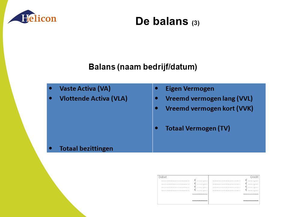 De balans (3)  Vaste Activa (VA)  Vlottende Activa (VLA)  Totaal bezittingen  Eigen Vermogen  Vreemd vermogen lang (VVL)  Vreemd vermogen kort (