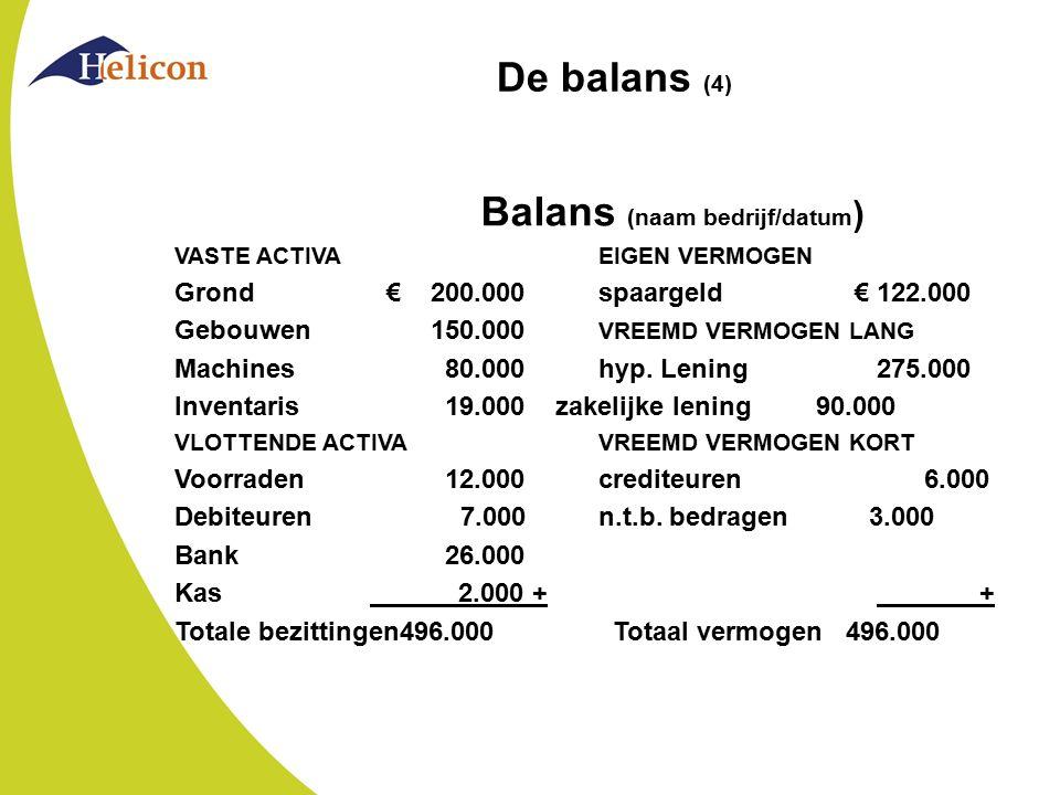 De balans (4) Balans (naam bedrijf/datum ) VASTE ACTIVAEIGEN VERMOGEN Grond€ 200.000spaargeld € 122.000 Gebouwen 150.000 VREEMD VERMOGEN LANG Machines