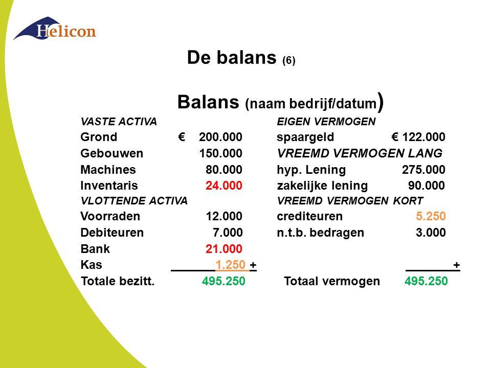 De balans (6) Balans (naam bedrijf/datum ) VASTE ACTIVAEIGEN VERMOGEN Grond€ 200.000spaargeld € 122.000 Gebouwen 150.000VREEMD VERMOGEN LANG Machines
