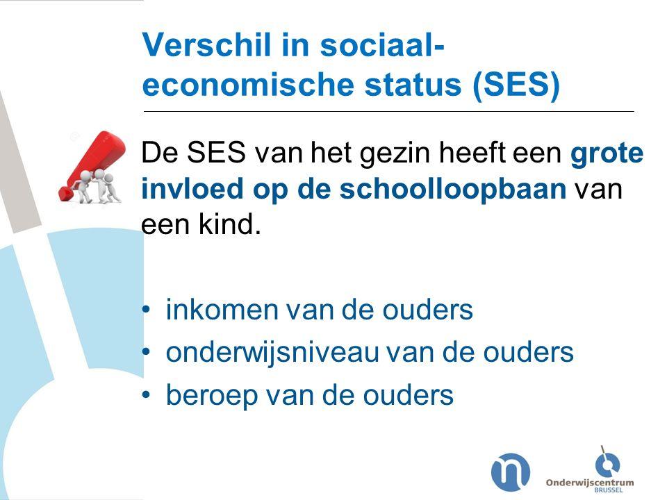 Verschil in sociaal- economische status (SES) De SES van het gezin heeft een grote invloed op de schoolloopbaan van een kind. inkomen van de ouders on