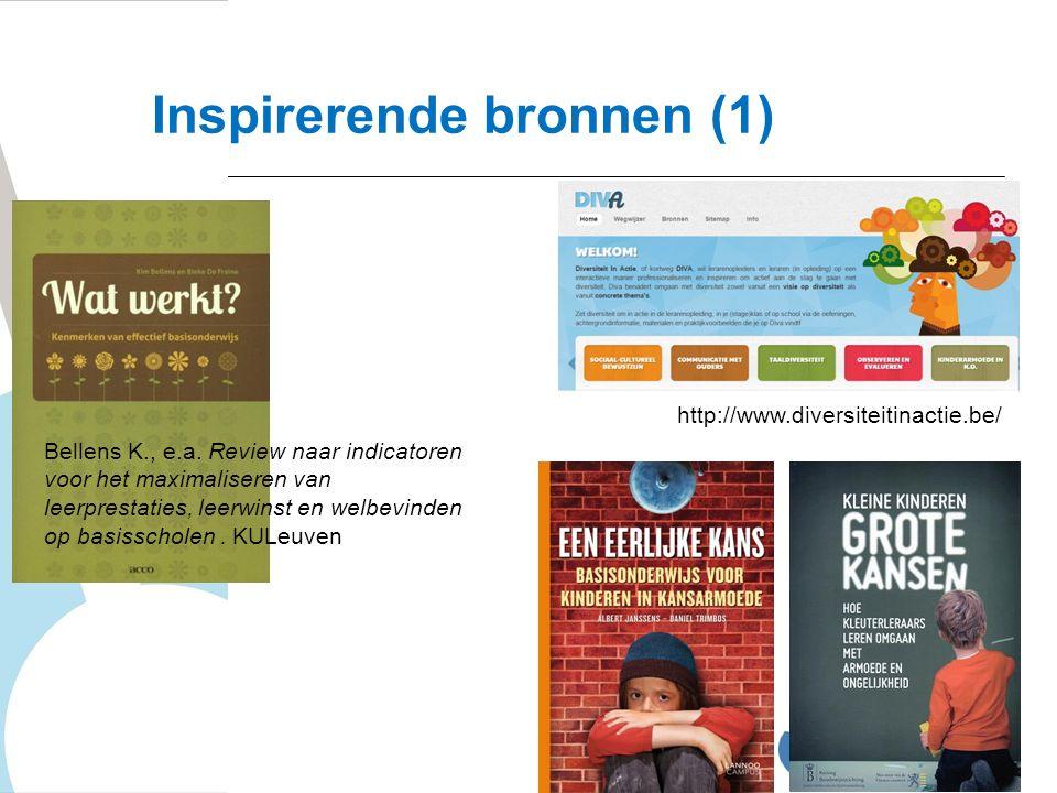 http://www.diversiteitinactie.be/ Bellens K., e.a. Review naar indicatoren voor het maximaliseren van leerprestaties, leerwinst en welbevinden op basi