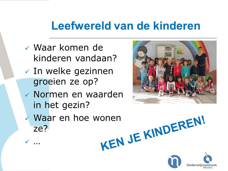 Waar komen de kinderen vandaan? In welke gezinnen groeien ze op? Normen en waarden in het gezin? Waar en hoe wonen ze? … Leefwereld van de kinderen KE