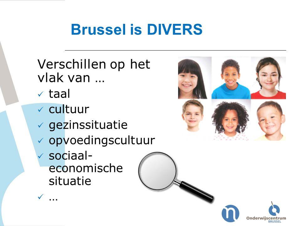 Verschillen op het vlak van … taal cultuur gezinssituatie opvoedingscultuur sociaal- economische situatie … Brussel is DIVERS