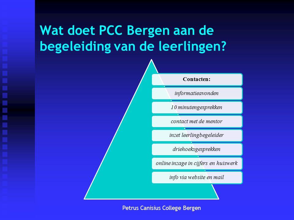 Petrus Canisius College Bergen Wat doet PCC Bergen aan de begeleiding van de leerlingen? Contacten: informatieavonden 10 minutengesprekken contact met
