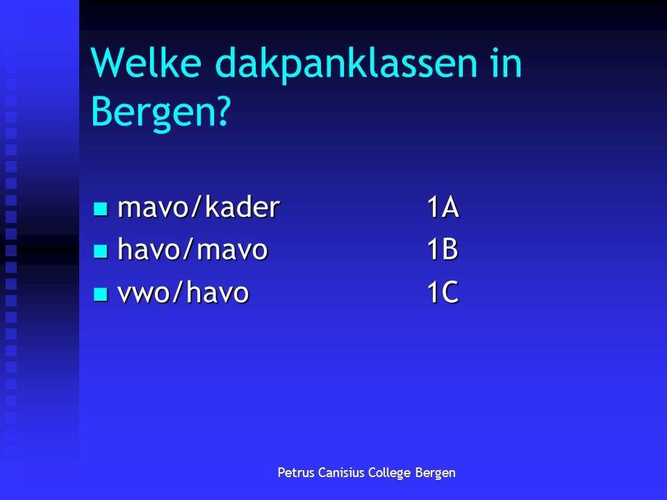 Petrus Canisius College Bergen Welke dakpanklassen in Bergen.