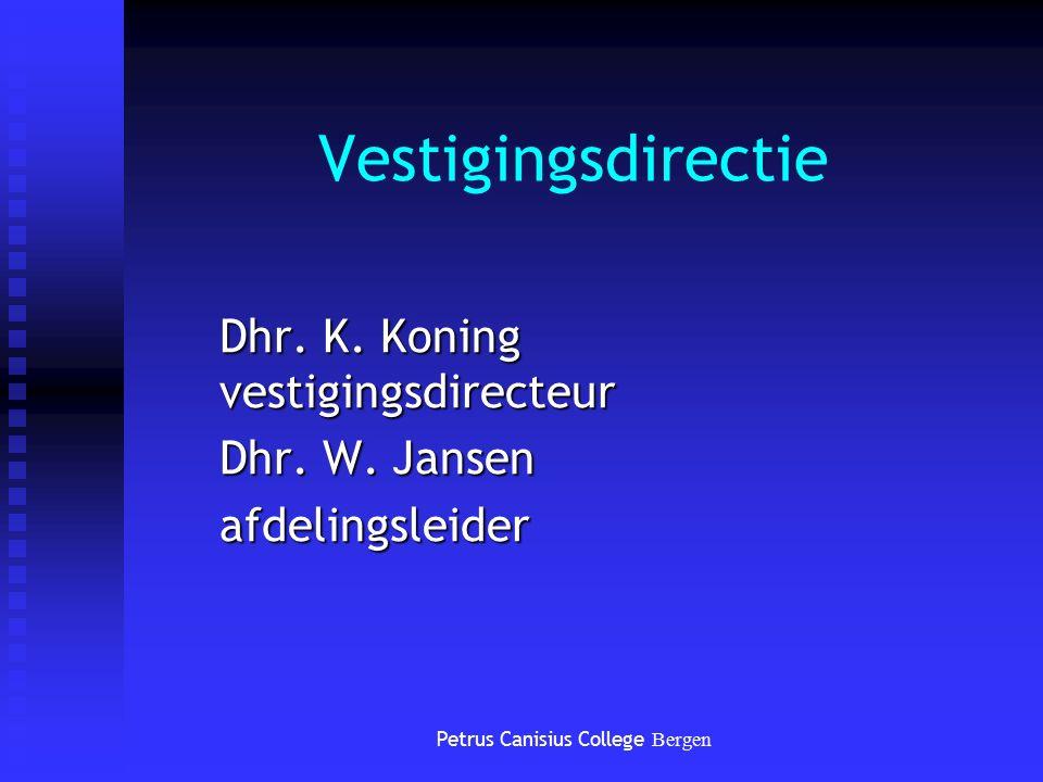 Vestigingsdirectie Dhr. K. Koning vestigingsdirecteur Dhr. W. Jansen afdelingsleider Petrus Canisius College Bergen