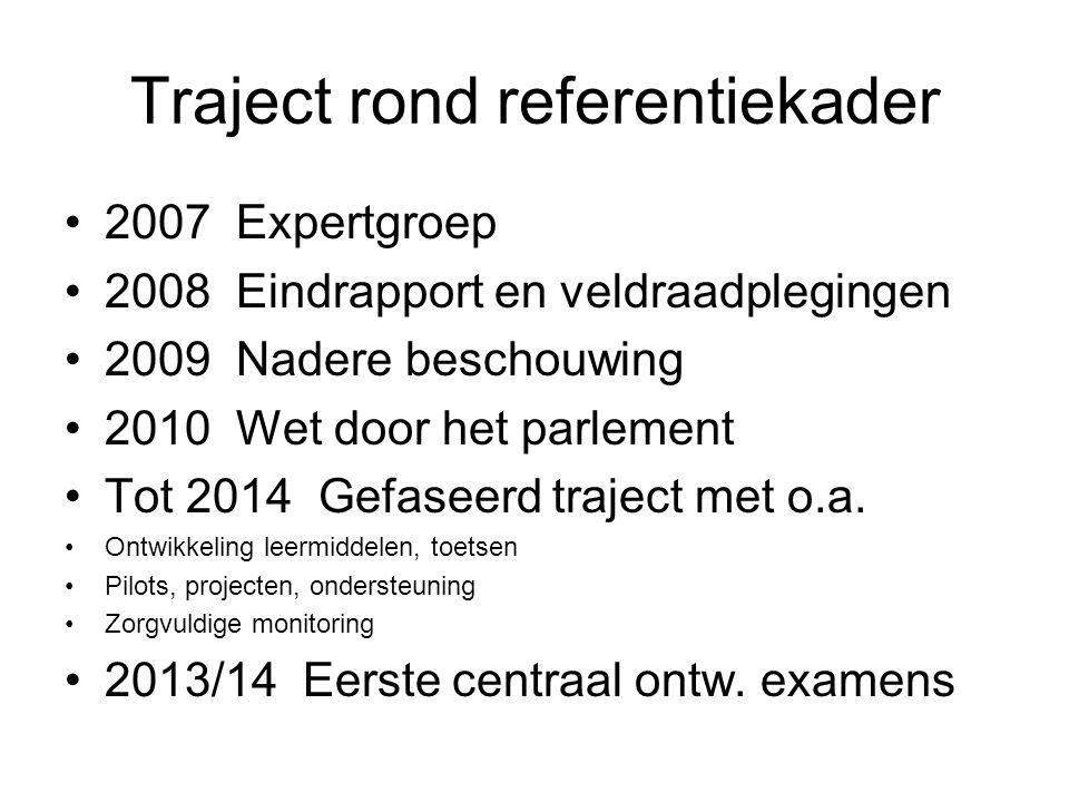 Traject rond referentiekader 2007 Expertgroep 2008 Eindrapport en veldraadplegingen 2009 Nadere beschouwing 2010 Wet door het parlement Tot 2014 Gefaseerd traject met o.a.