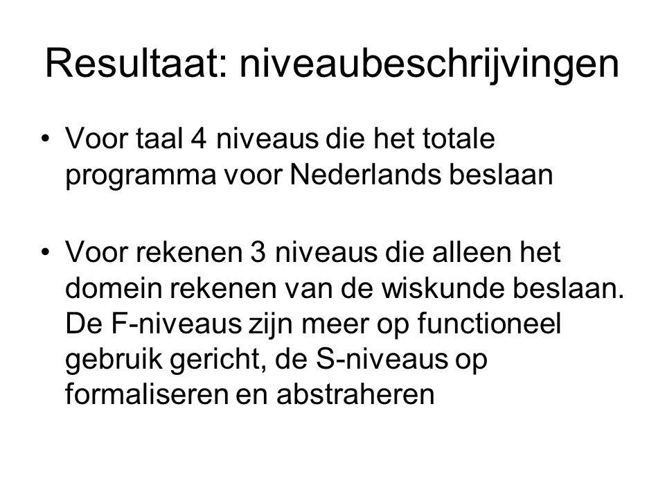 Resultaat: niveaubeschrijvingen Voor taal 4 niveaus die het totale programma voor Nederlands beslaan Voor rekenen 3 niveaus die alleen het domein rekenen van de wiskunde beslaan.