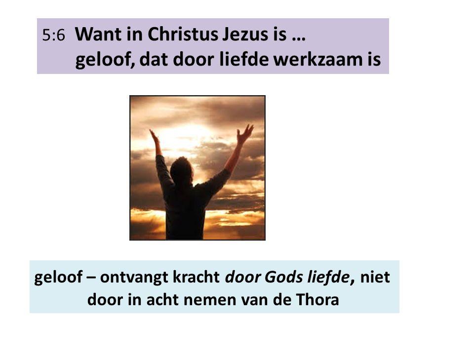 5:6 Want in Christus Jezus is … geloof, dat door liefde werkzaam is geloof – ontvangt kracht door Gods liefde, niet door in acht nemen van de Thora
