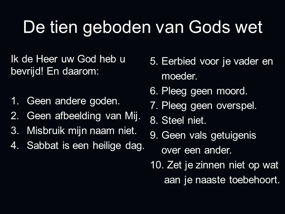 De tien geboden van Gods wet Ik de Heer uw God heb u bevrijd! En daarom: 1.Geen andere goden. 2.Geen afbeelding van Mij. 3.Misbruik mijn naam niet. 4.