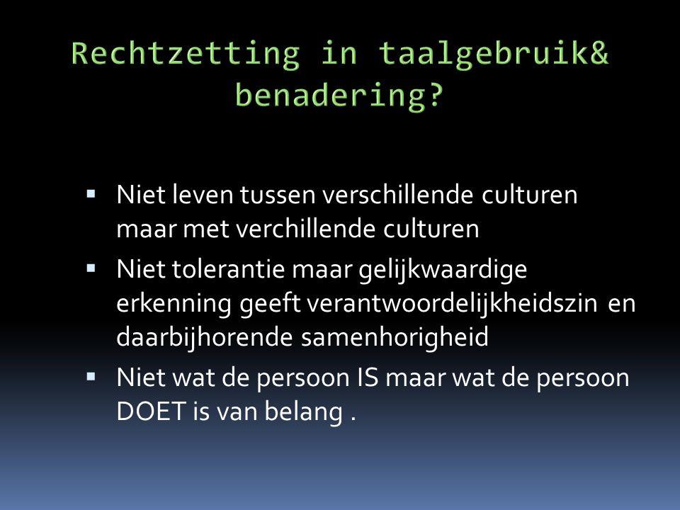  Niet leven tussen verschillende culturen maar met verchillende culturen  Niet tolerantie maar gelijkwaardige erkenning geeft verantwoordelijkheidsz