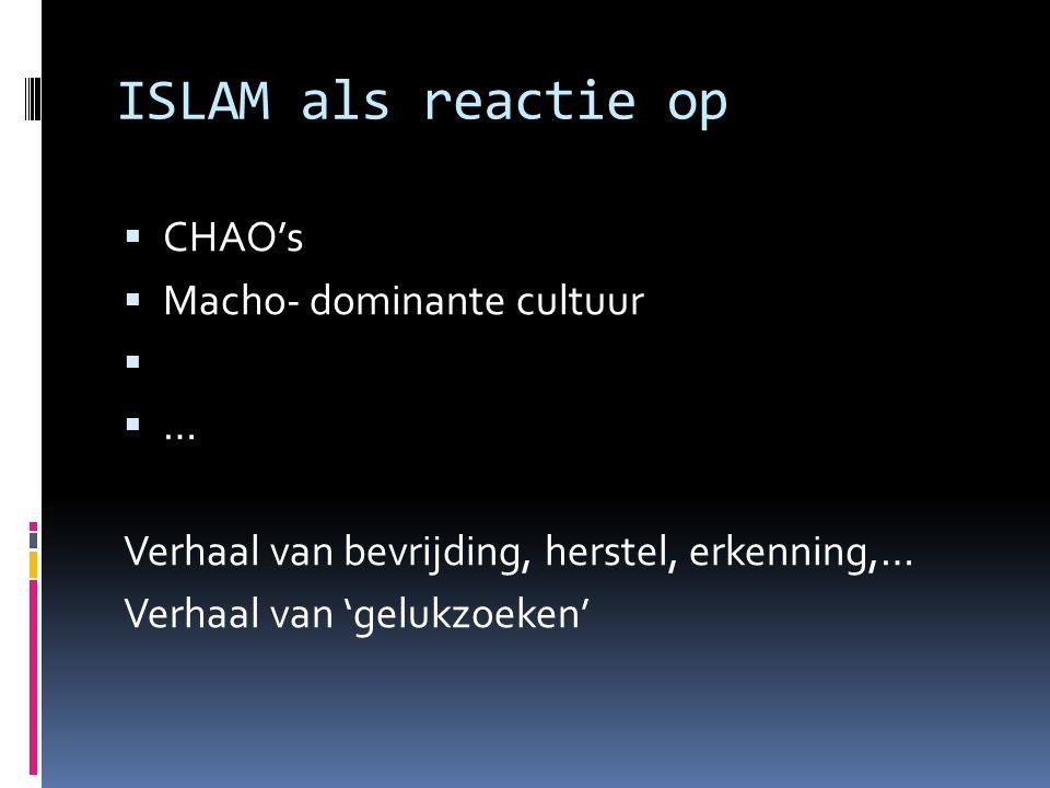 ISLAM als reactie op  CHAO's  Macho- dominante cultuur   … Verhaal van bevrijding, herstel, erkenning,… Verhaal van 'gelukzoeken'