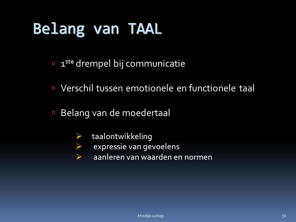 Belang van TAAL  1 ste drempel bij communicatie  Verschil tussen emotionele en functionele taal  Belang van de moedertaal  taalontwikkeling  expr
