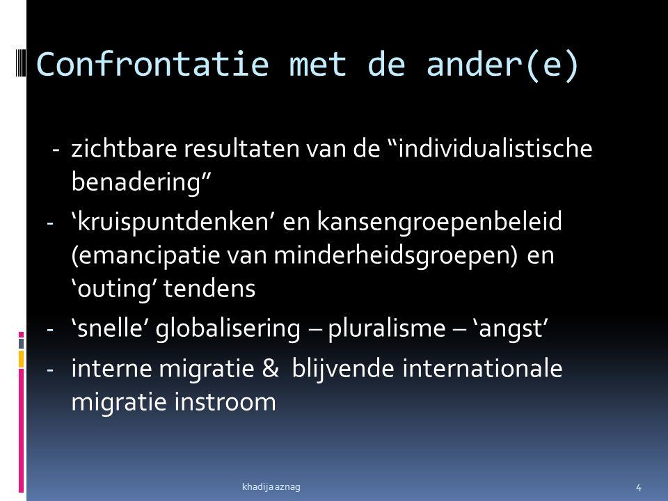 """Confrontatie met de ander(e) - zichtbare resultaten van de """"individualistische benadering"""" - 'kruispuntdenken' en kansengroepenbeleid (emancipatie van"""