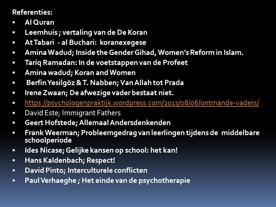Referenties:  Al Quran  Leemhuis ; vertaling van de De Koran  At Tabari - al Buchari: koranexegese  Amina Wadud; Inside the Gender Gihad, Women's