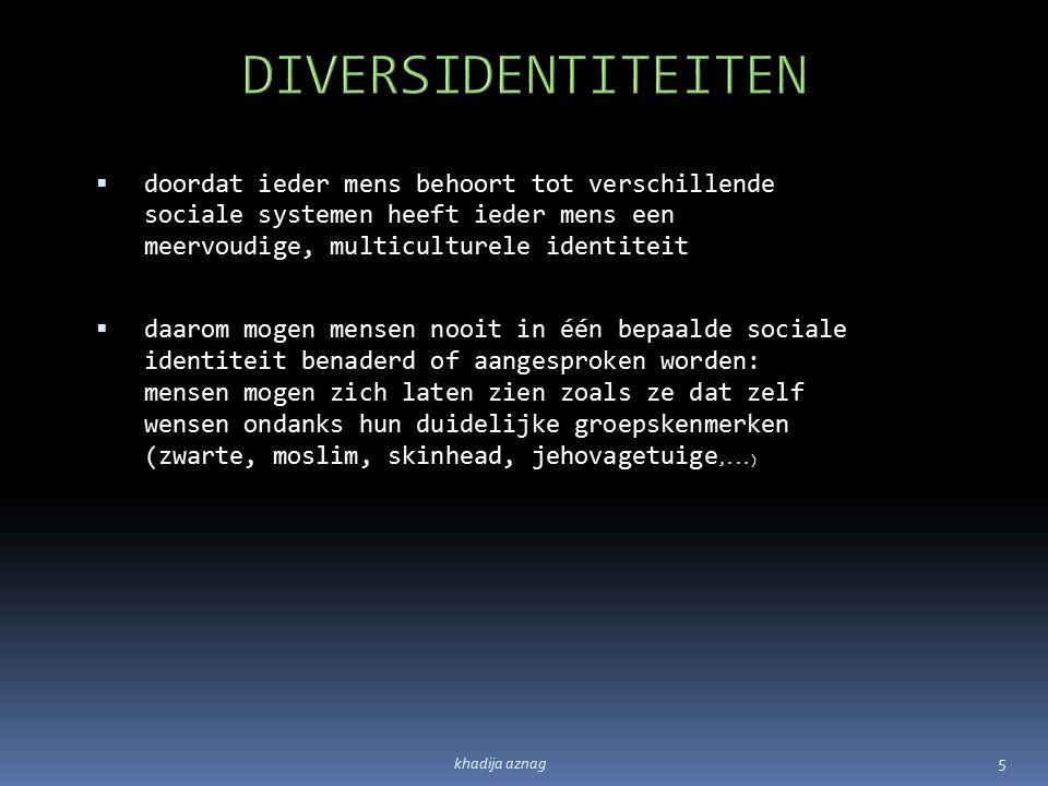  doordat ieder mens behoort tot verschillende sociale systemen heeft ieder mens een meervoudige, multiculturele identiteit  daarom mogen mensen nooi