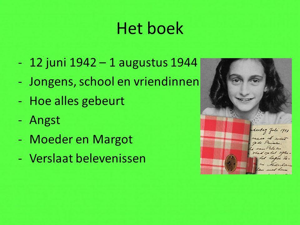 Het boek -12 juni 1942 – 1 augustus 1944 -Jongens, school en vriendinnen -Hoe alles gebeurt -Angst -Moeder en Margot -Verslaat belevenissen
