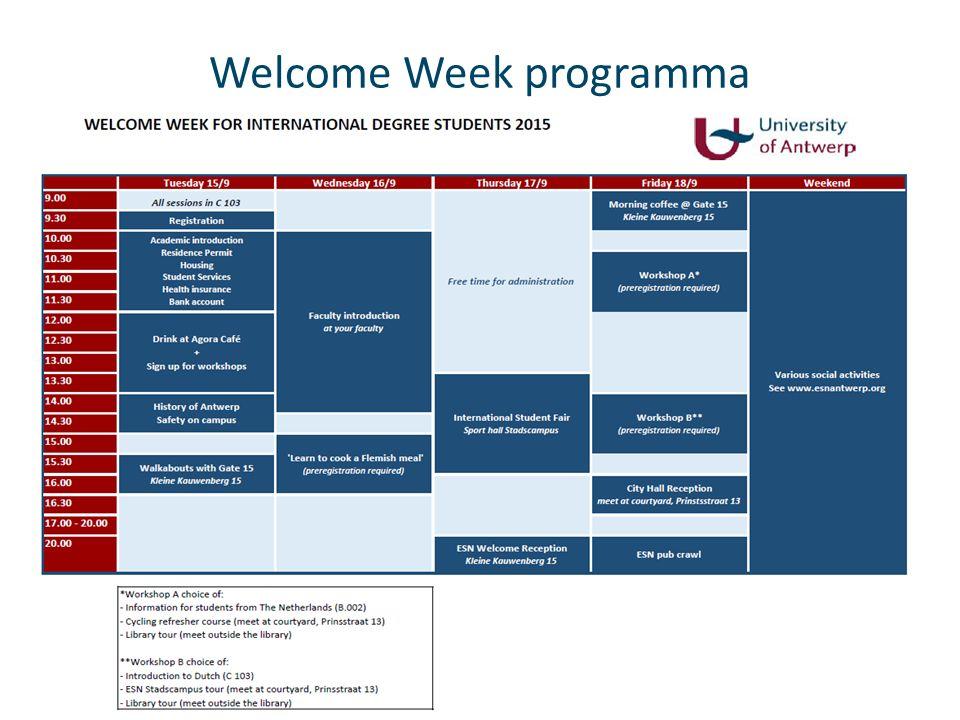 Knelpunten & Vraagstelling -Studenten die de welcome week missen geraken moeilijk aan de nodige informatie -Onthaal Nederlandse studenten.